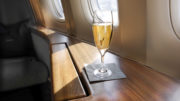 first class glass of champagne