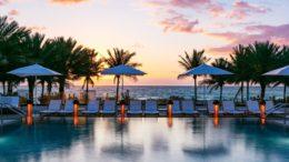 eden roc pool at sunset
