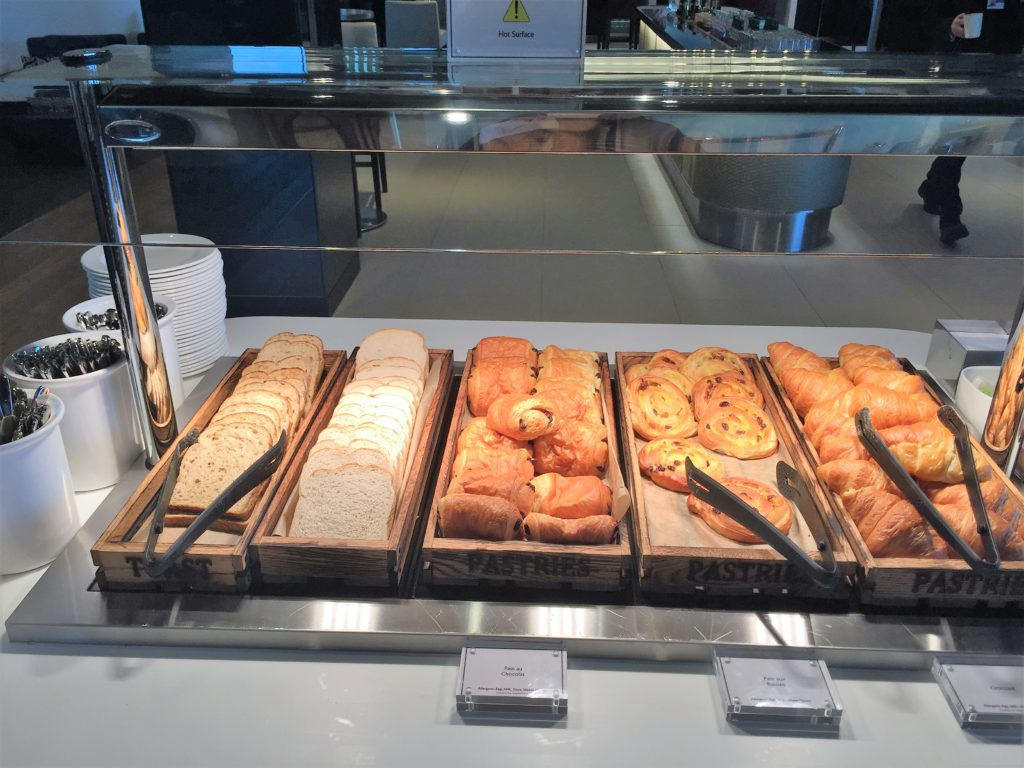 BA new club lounge gatwick south review pastries and bread