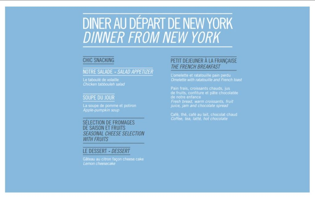 New York menu