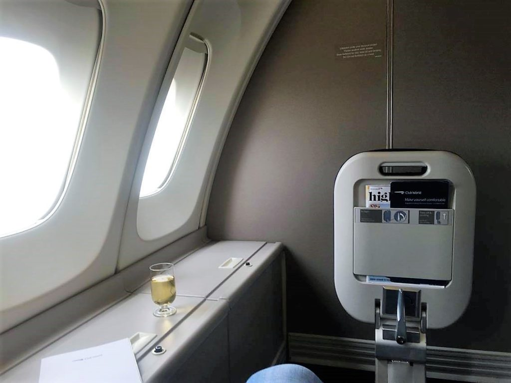 BA B747 upper deck Club world review british airways 64K