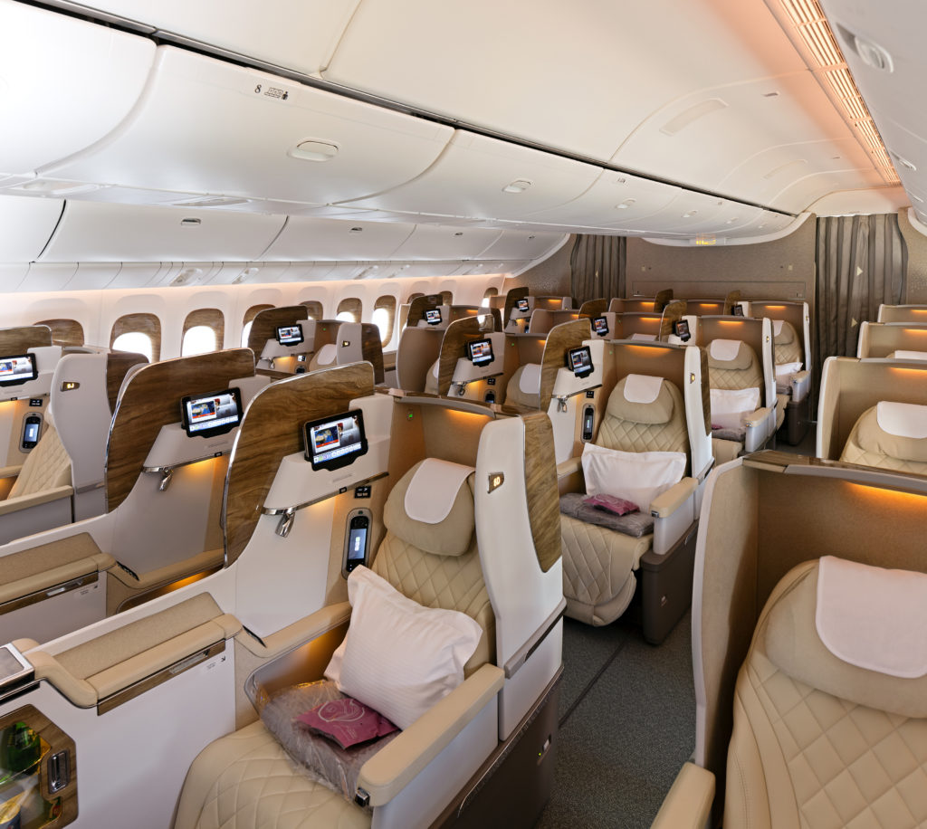 Emirates new business class cabin seats Dubai airshow 2017