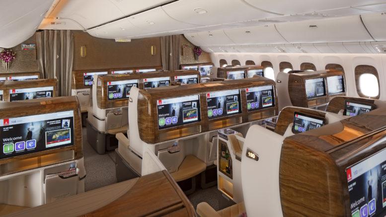 Emirates new business class cabin seats Dubai airshow 201