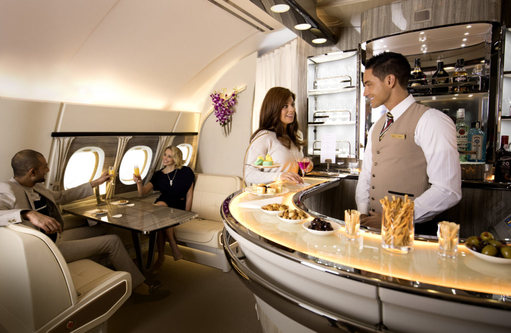 Emirates A380 on board bar