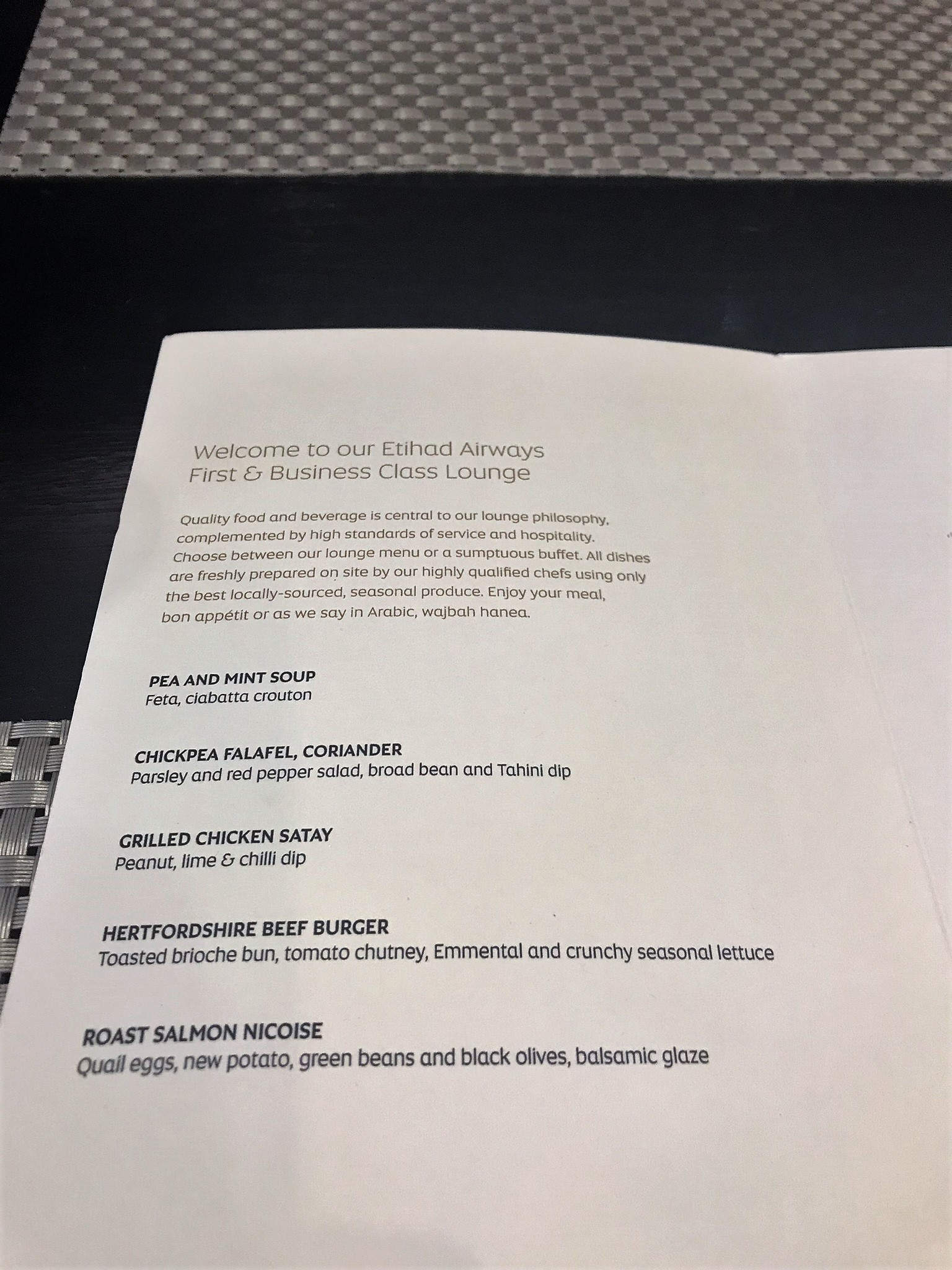 Etihad london lounge menu