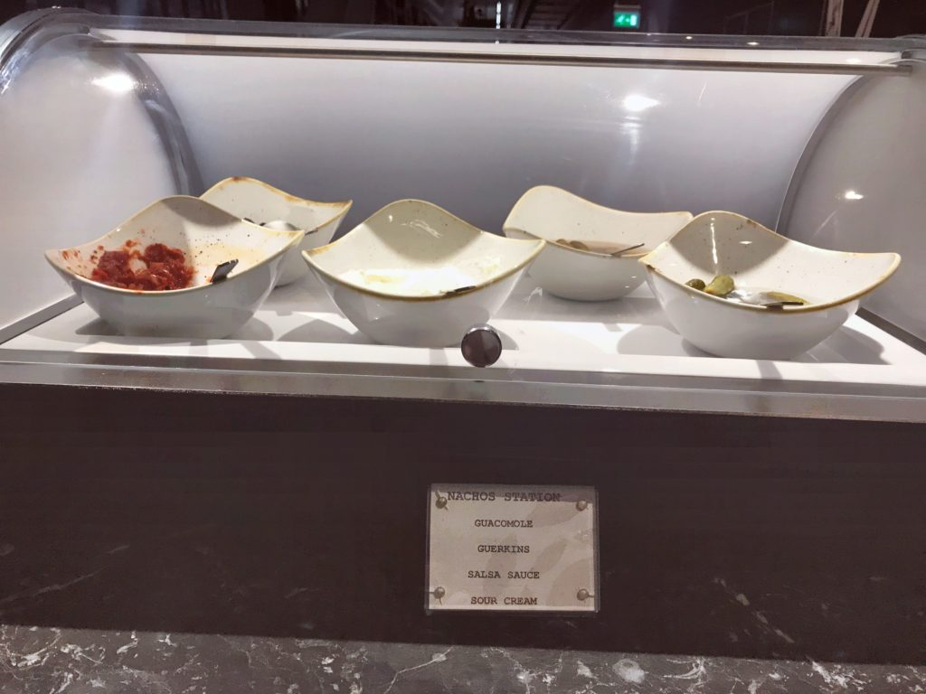 Plaza Premium lounge Heathrow Terminal 5 review nacho bar