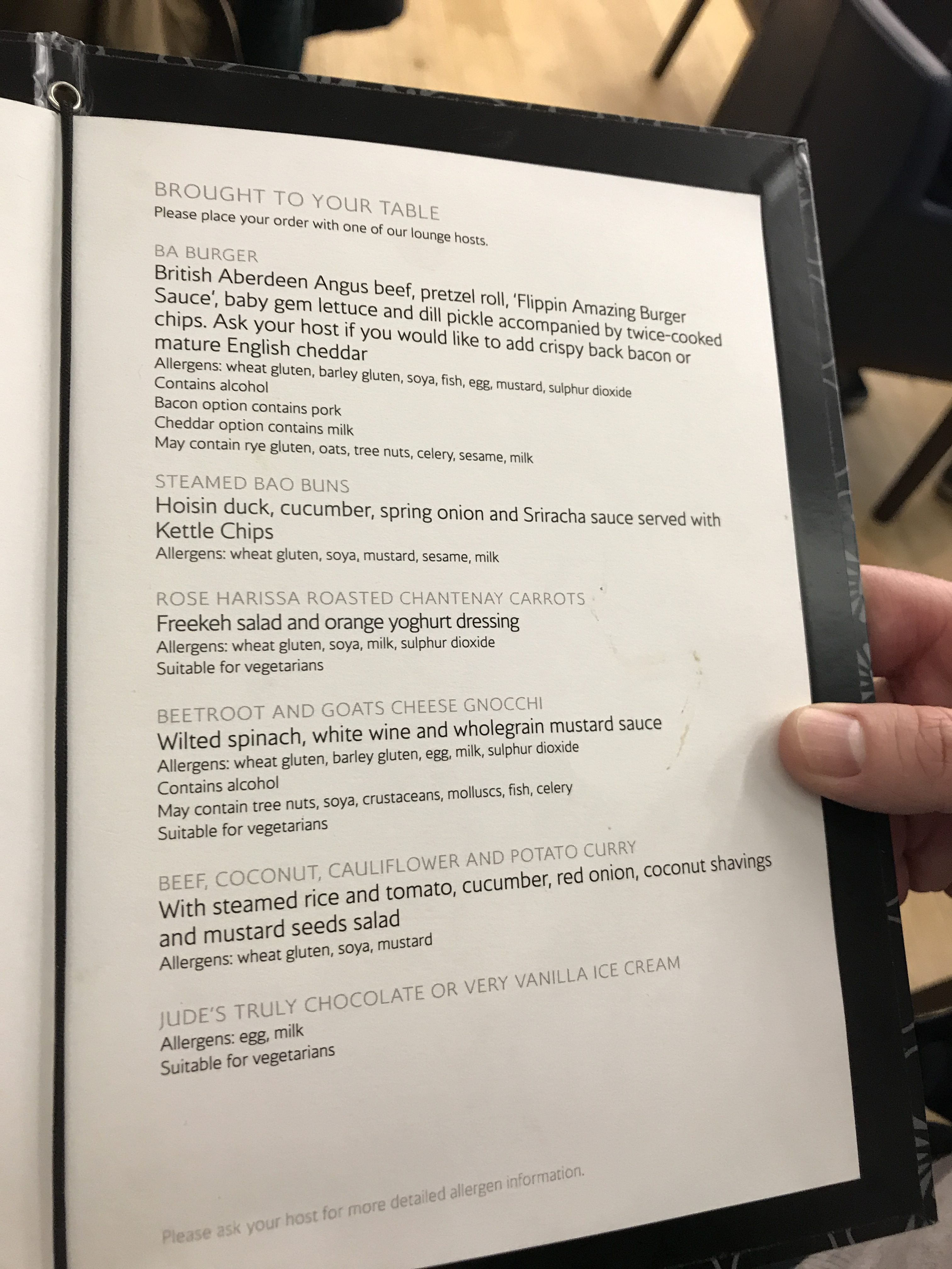 BA First lounge Heathrow T5 menu
