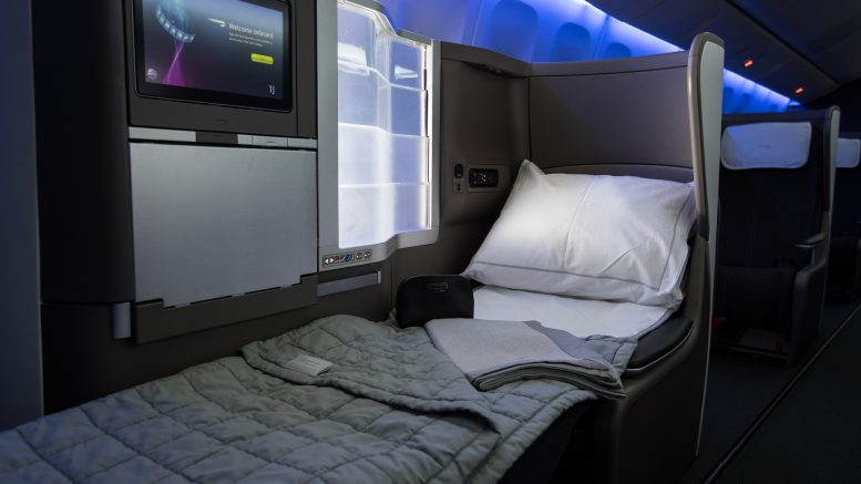 BA Gatwick new B777 club world seat with bedding