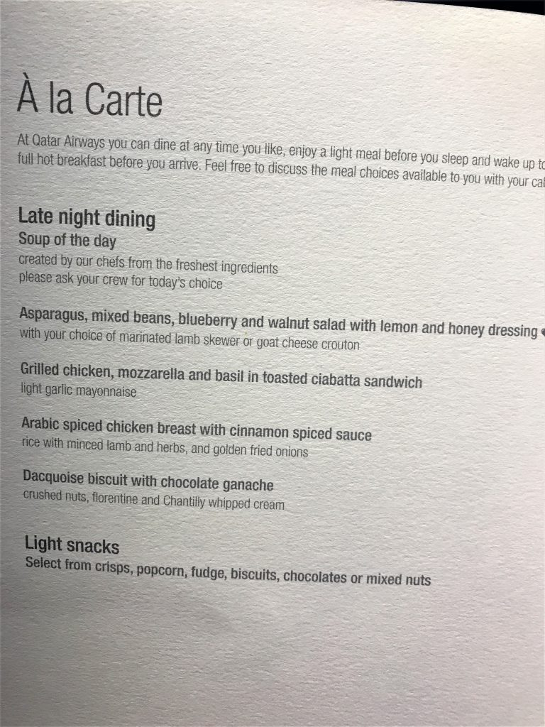 Qatar A380 business class review - Doha to London night flight menu
