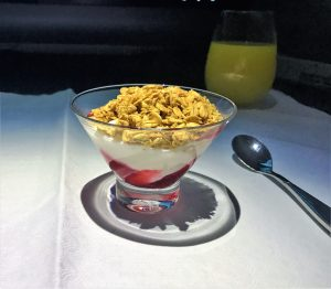 Qatar A380 business class review - Doha to London night flight yogurt compote