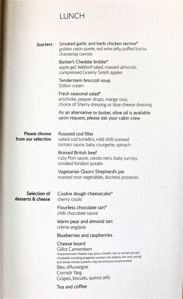 BA new club world food review menu