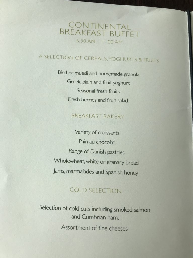 Intercontinental London Park Lane review breakfast buffet menu