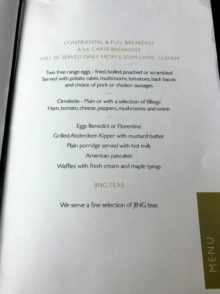 Intercontinental London Park Lane review breakfast menu