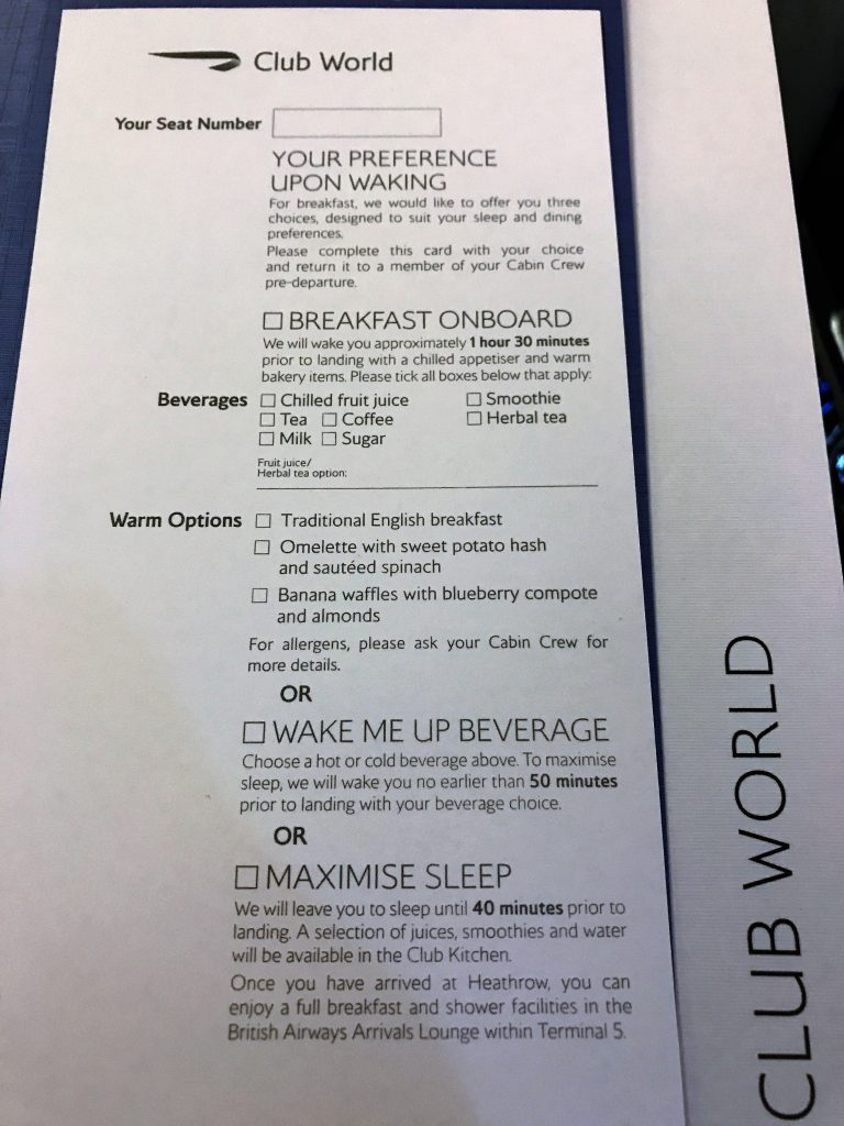 BA new club world food review breakfast card