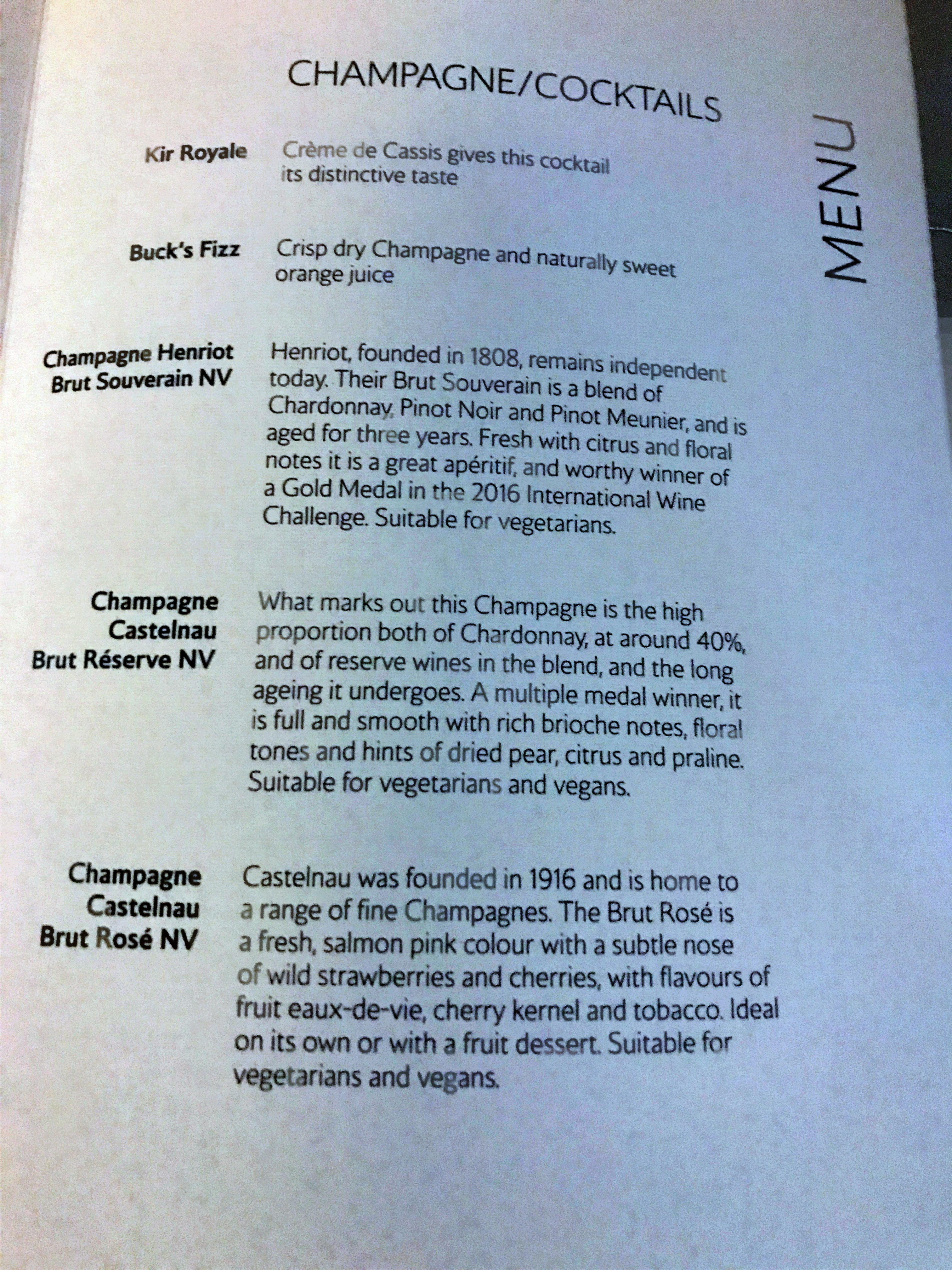 BA new club world food review menu champagne