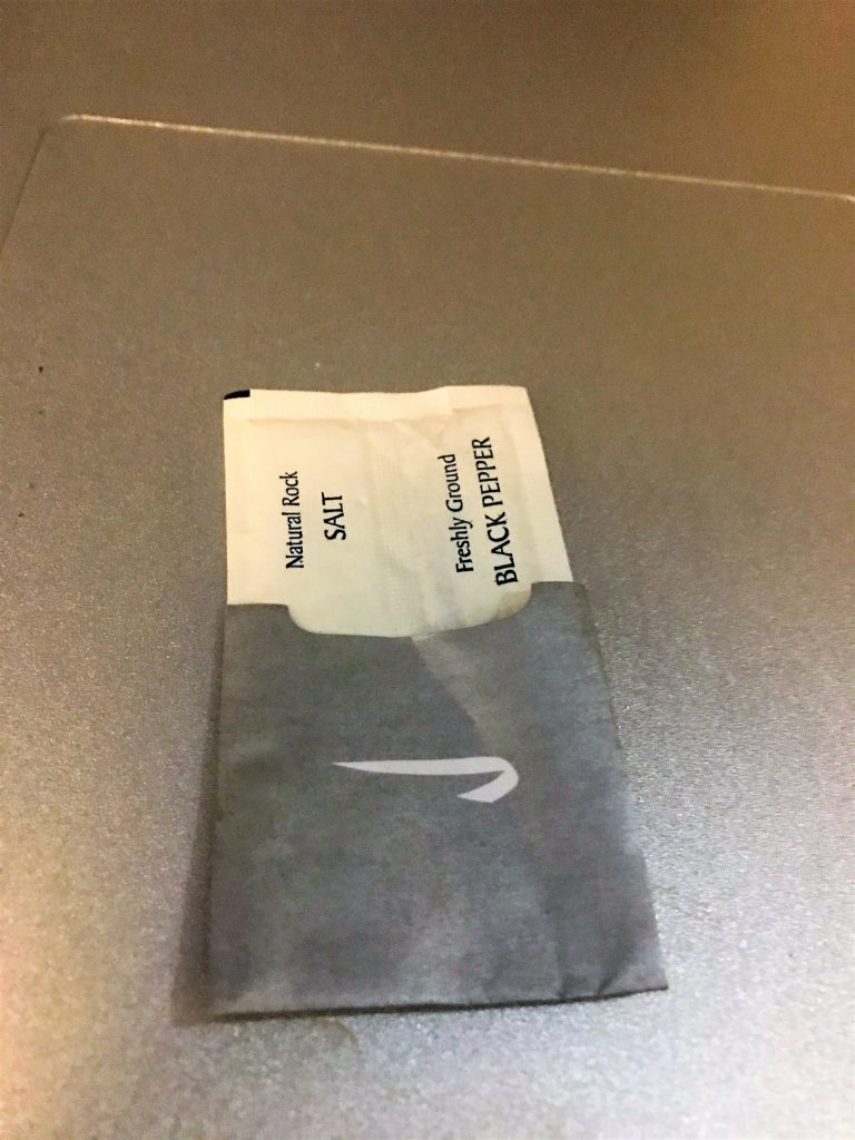 BA new club world food review salt and pepper packet