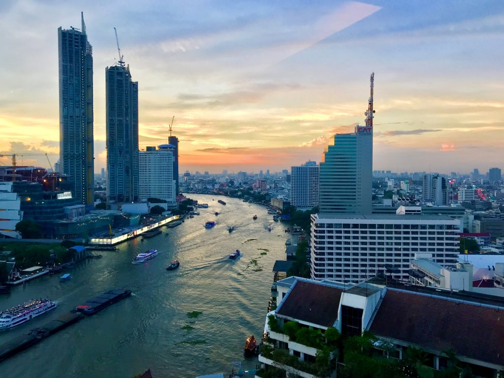 Shangri-La Hotel Bangkok review view from lounge at sunset
