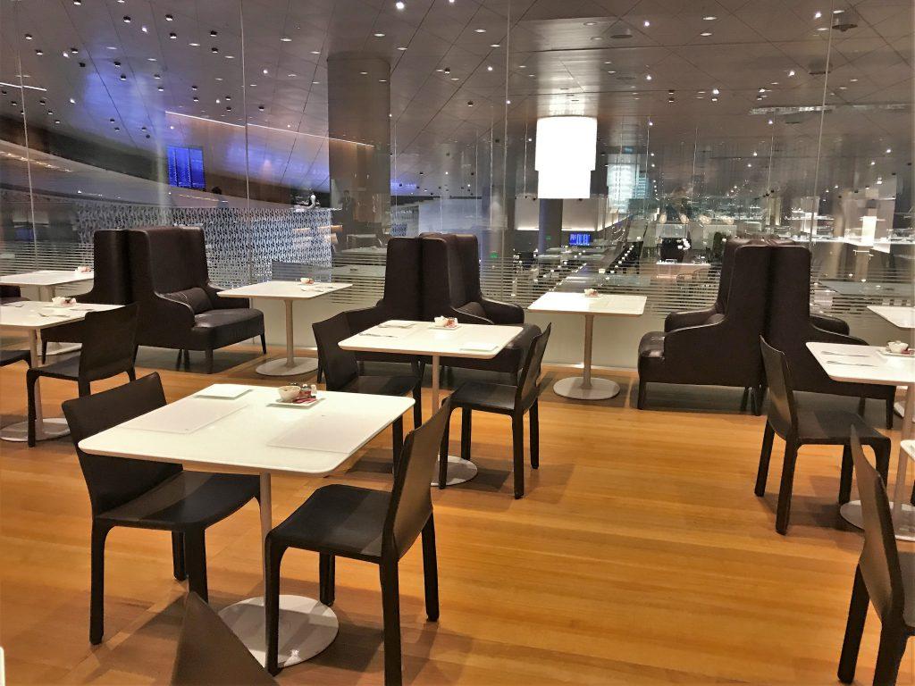 Qatar Airways QSuites A350-900 business class review Al Mourjan lounge