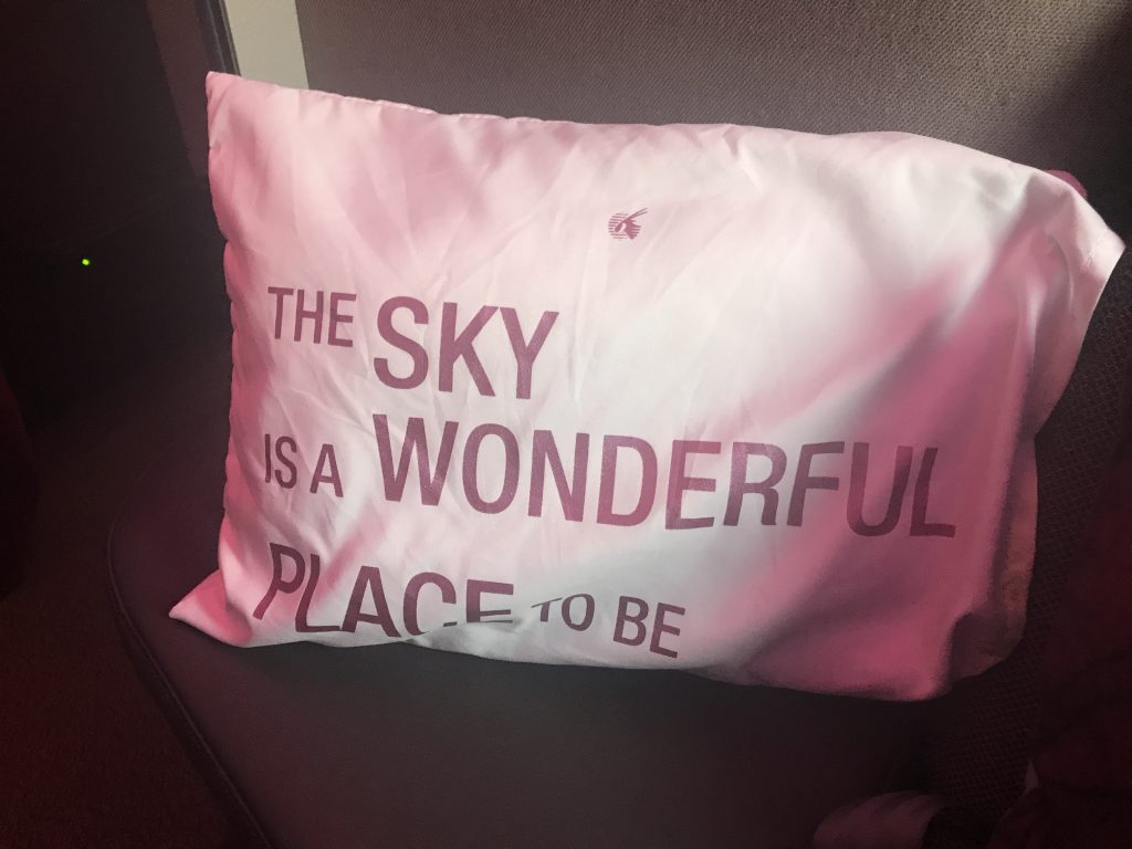 Qatar Airways QSuites A350-900 business class review day pillow