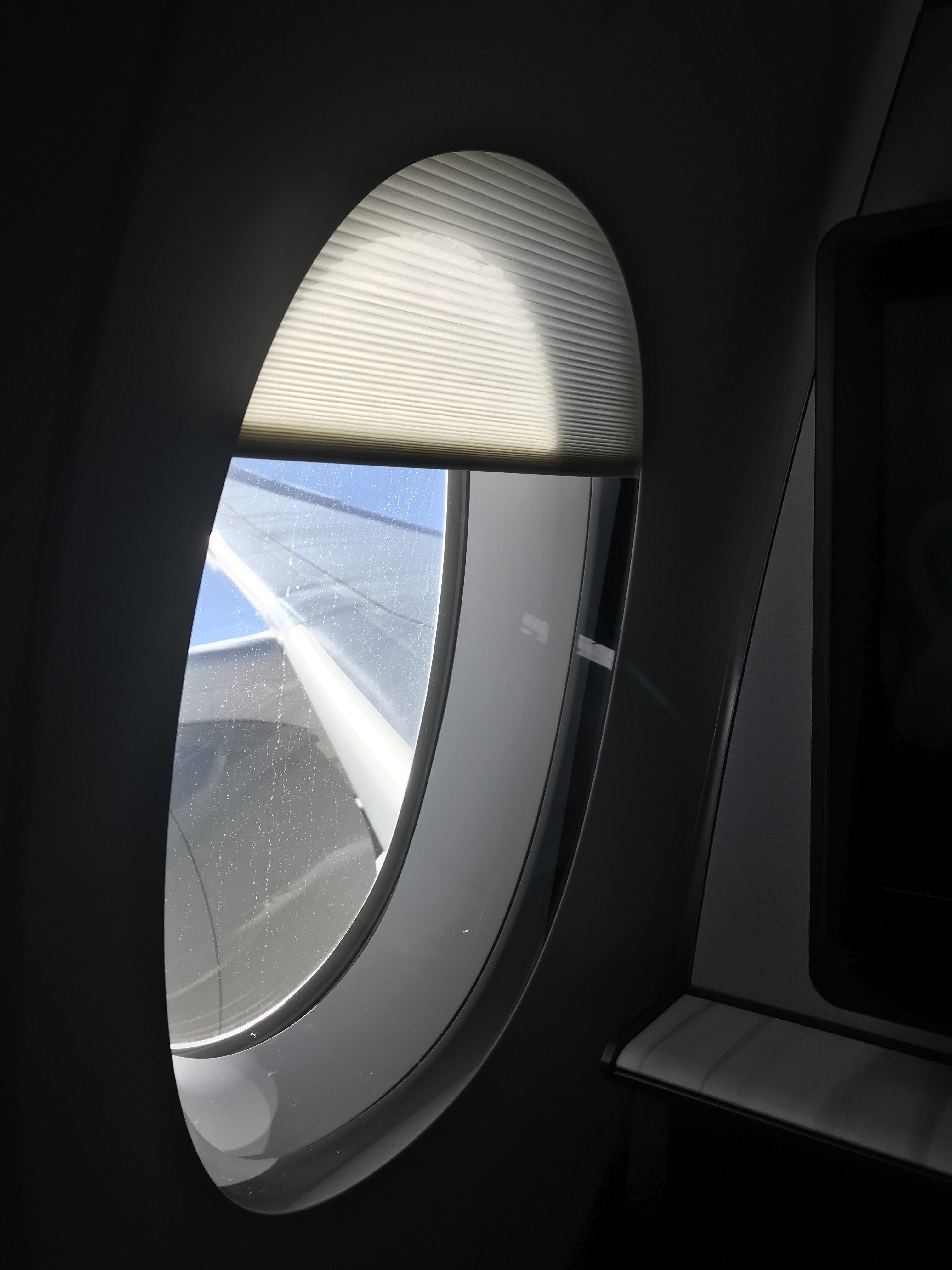 Qatar Airways QSuites A350-900 business class review shade