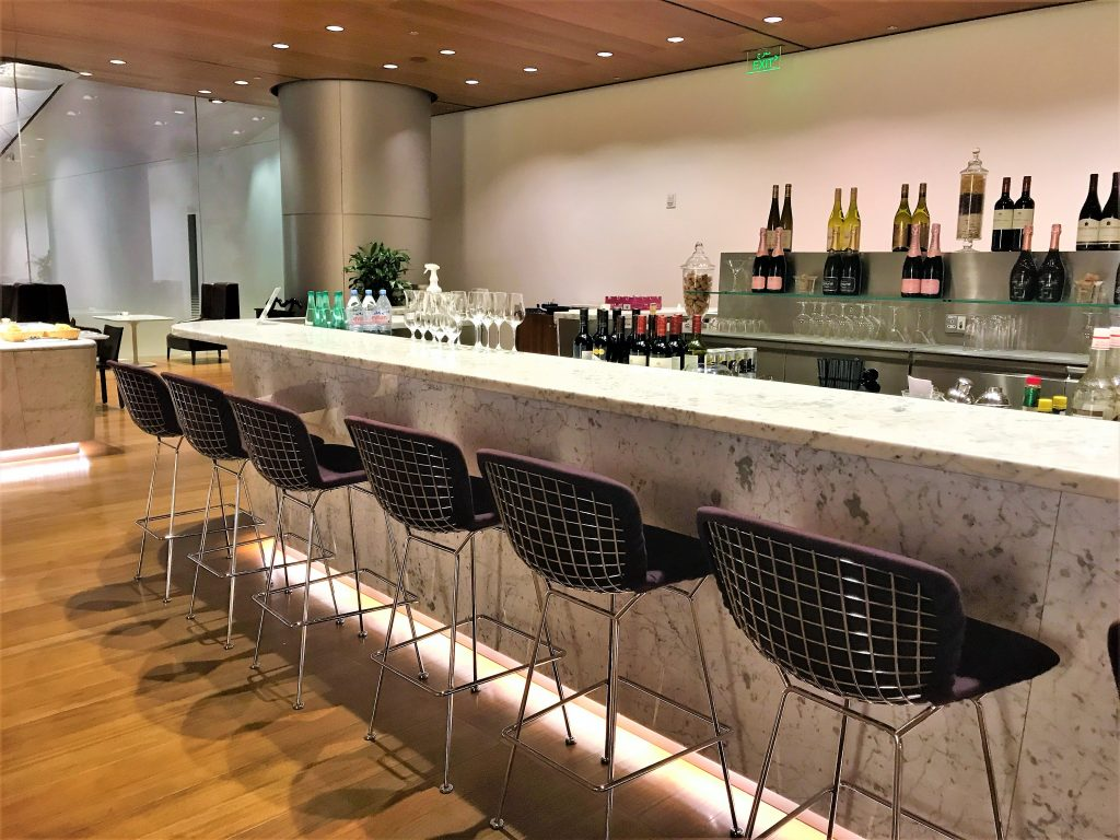 Qatar Airways Business Class Al Mourjan lounge Doha review bar