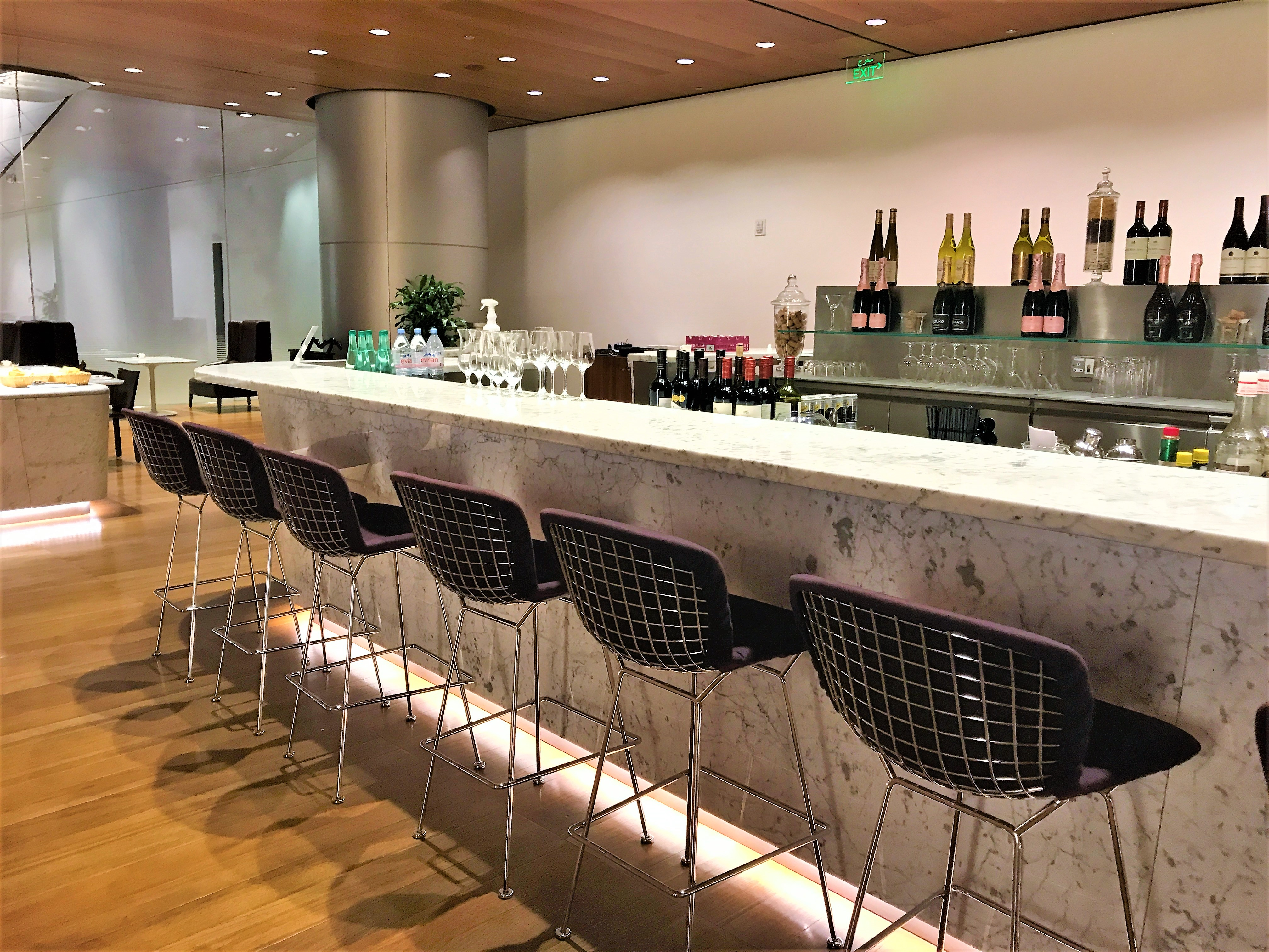Qatar Airways Business Class Al Mourjan lounge Doha review bar