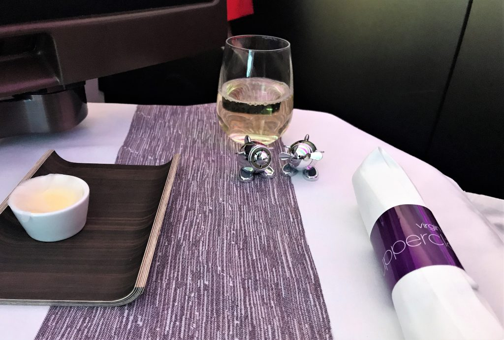 Virgin Atlantic B787 Upper Class Heathrow to Los Angeles review laid up table