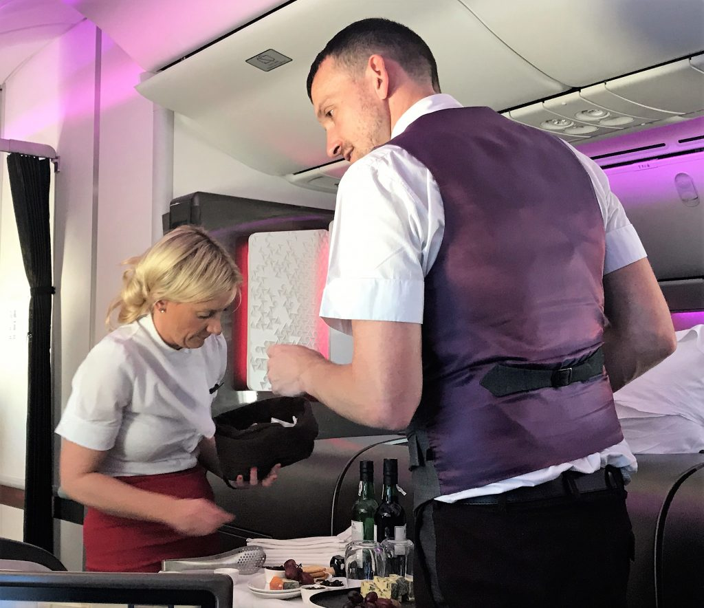 Virgin Atlantic B787 Upper Class Heathrow to Los Angeles review cheese trolley