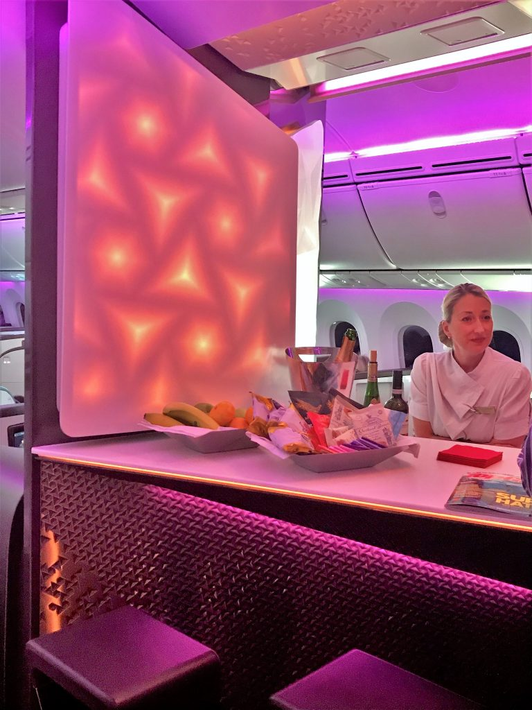 Virgin Atlantic B787 Upper Class Heathrow to Los Angeles review bar