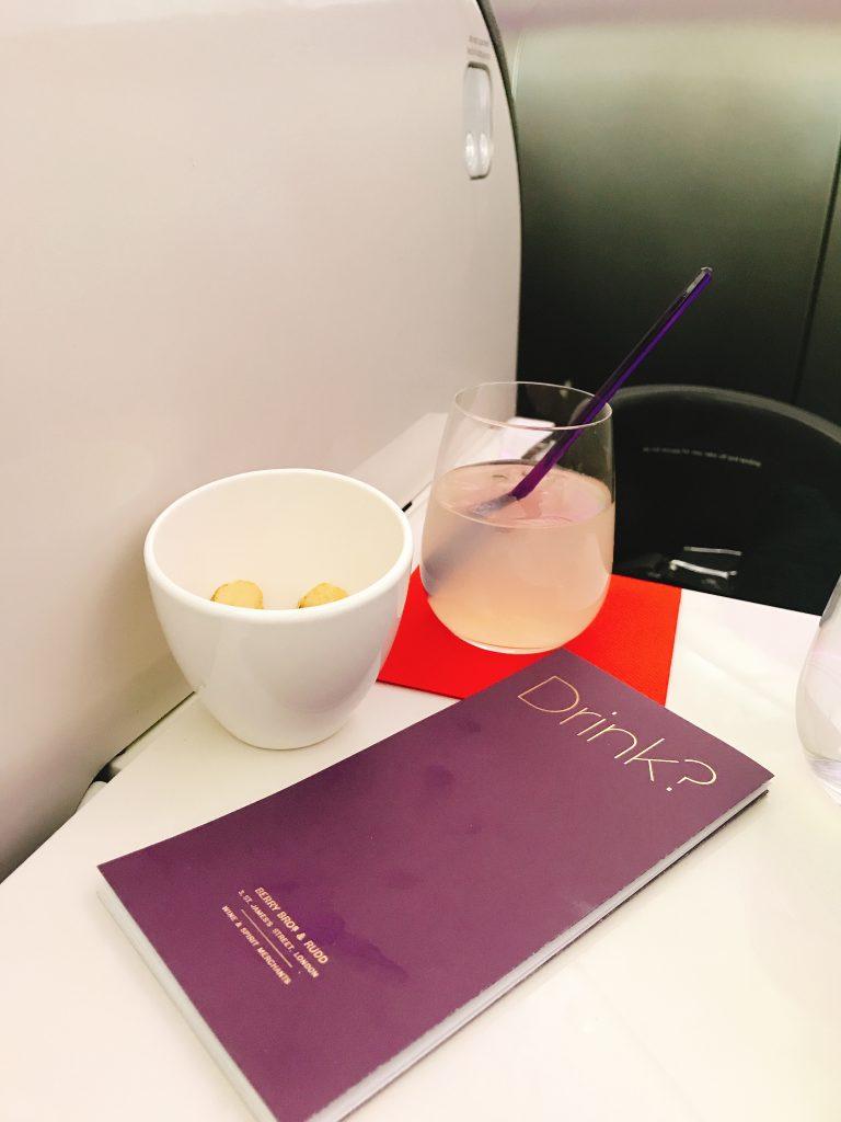 Virgin Atlantic B787 Upper Class night flight review elderflower cocktail