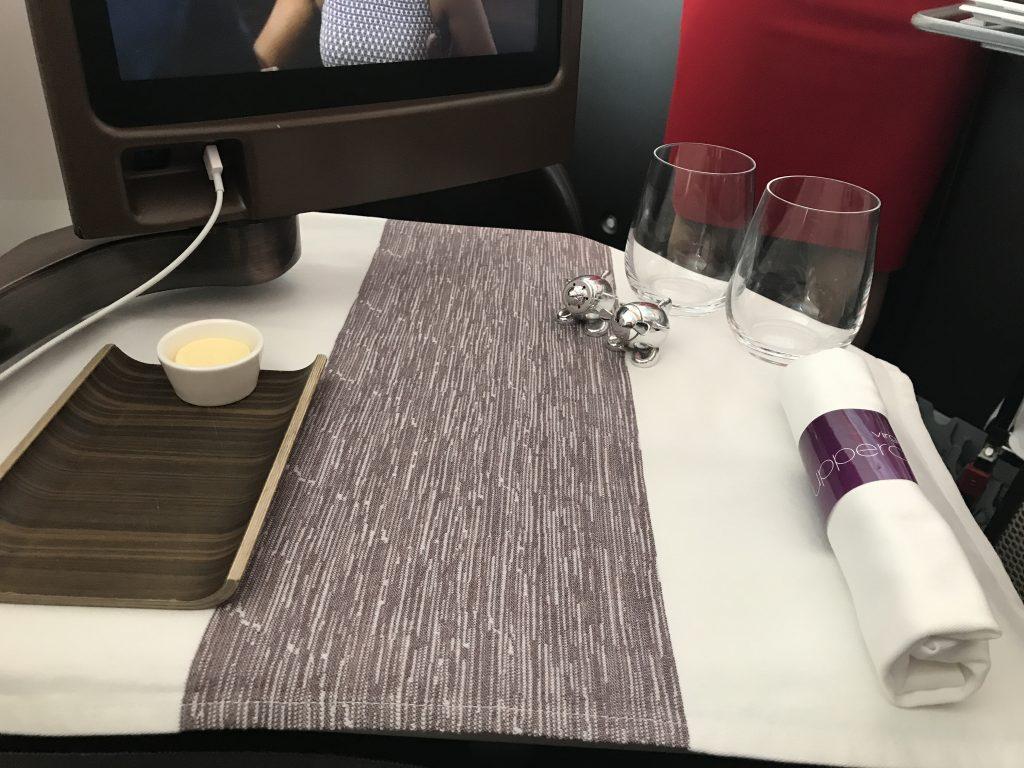 Virgin Atlantic B787 Upper Class night flight review table