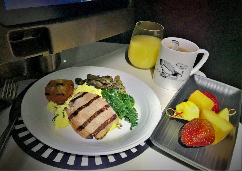 Virgin Atlantic B787 Upper Class night flight review breakfast