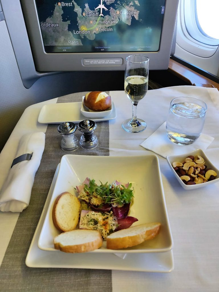 American Airlines International First Class B777-300ER crab salad