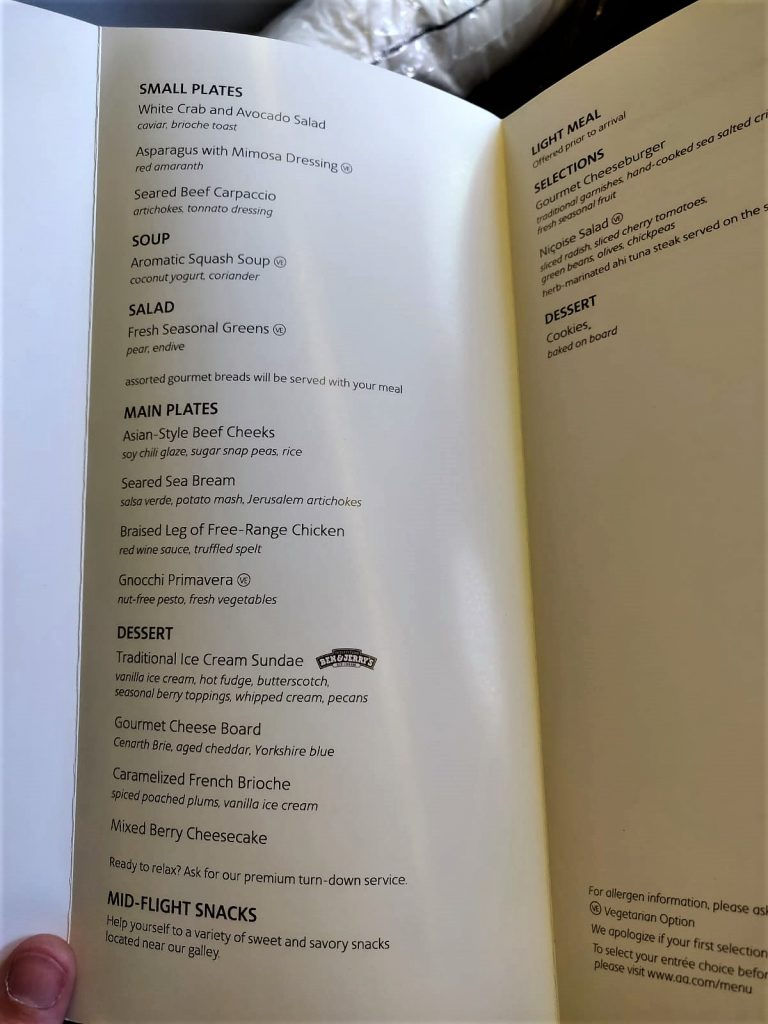 American Airlines International First Class B777-300ER menu