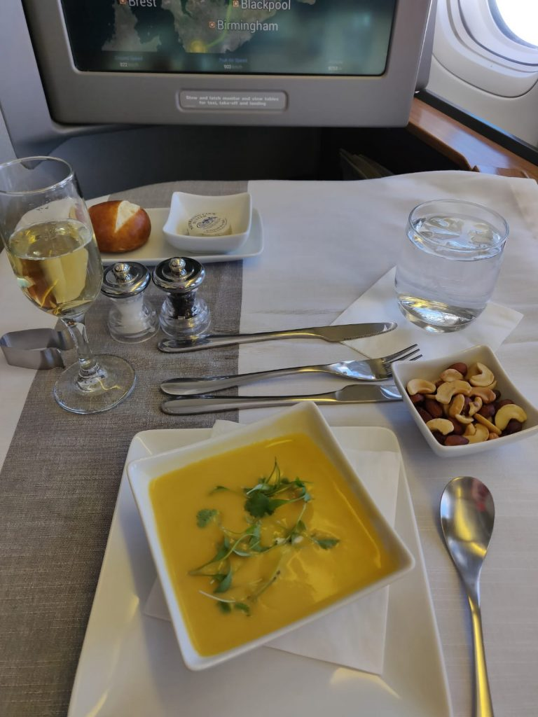 American Airlines International First Class B777-300ER soup