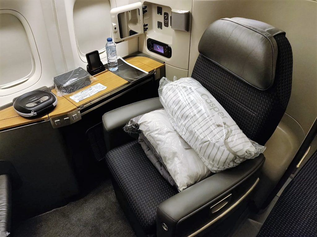 American Airlines International First Class B777-300ER seat front view