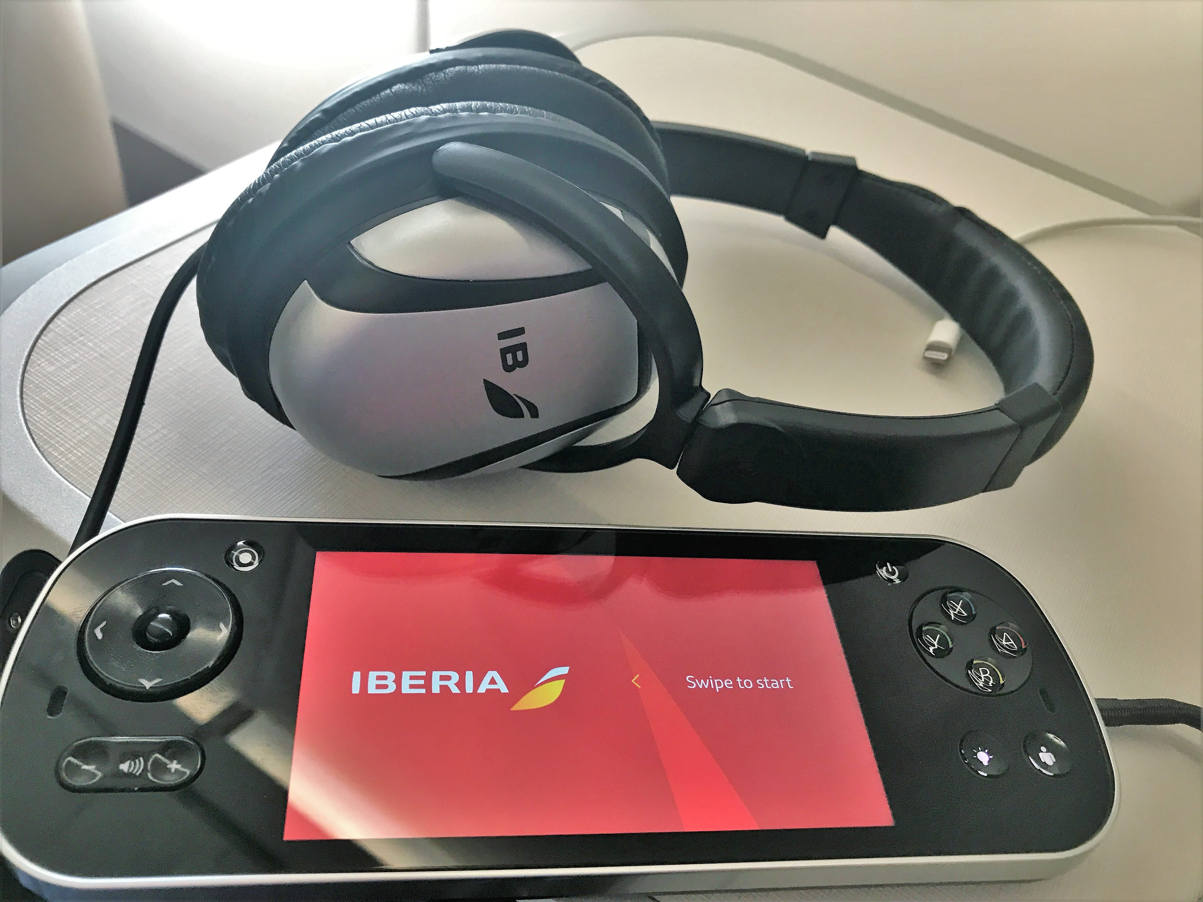 Iberia A350 business class short haul full review headphones and remote
