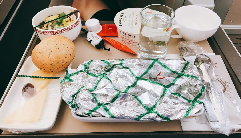 Iberia A350 business class short haul full review meal tray