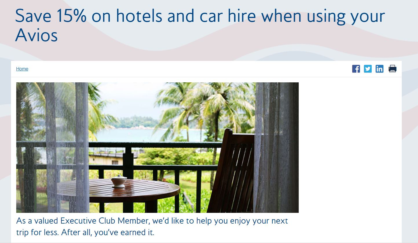 Ba Are Offering Executive Club Members 15 Off Hotels And Car Hire Booked Using Avios Between 3 September 30 2018 For Travel Up To 31