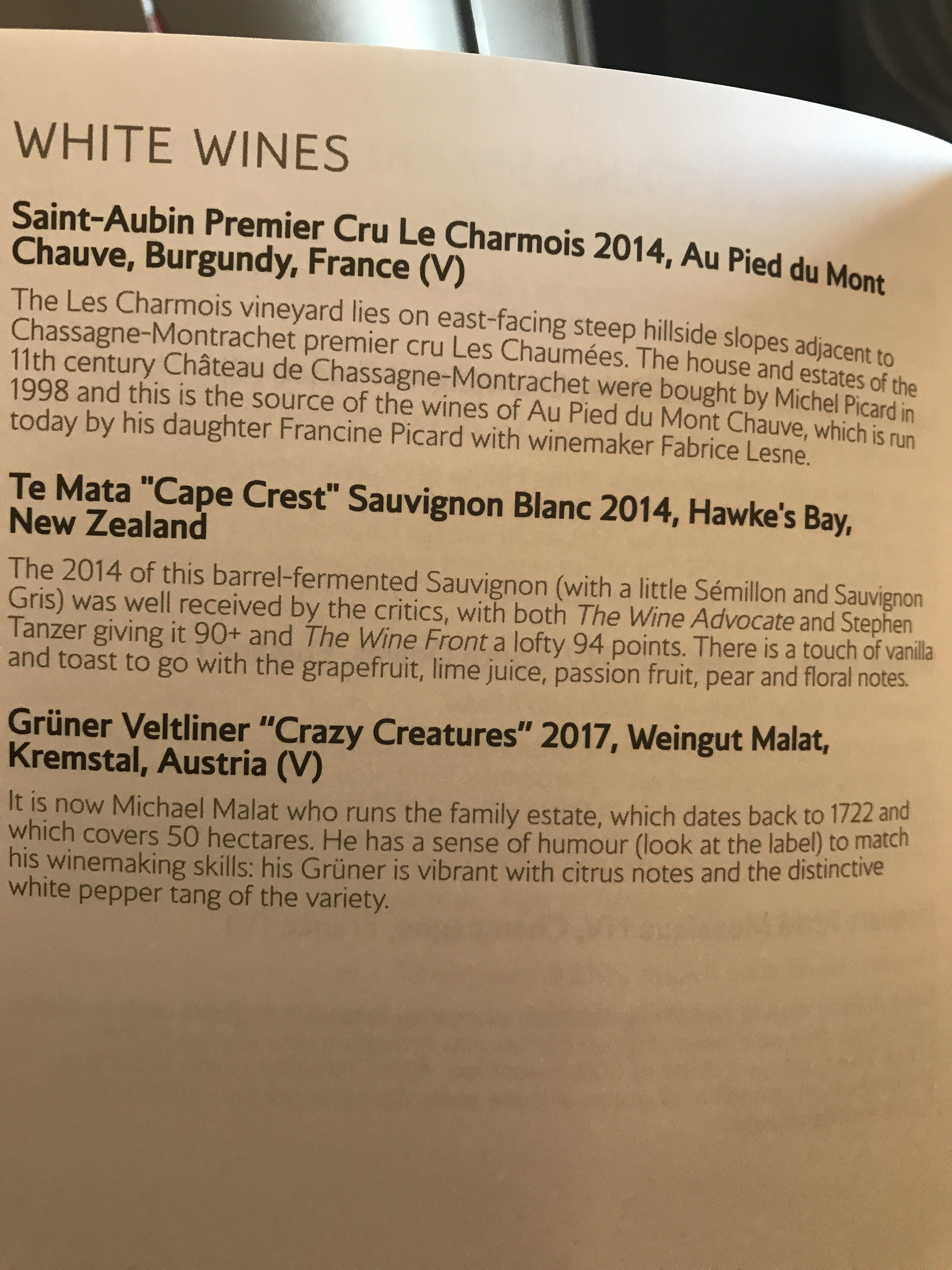 British Airways B747 First class review to New York wine list