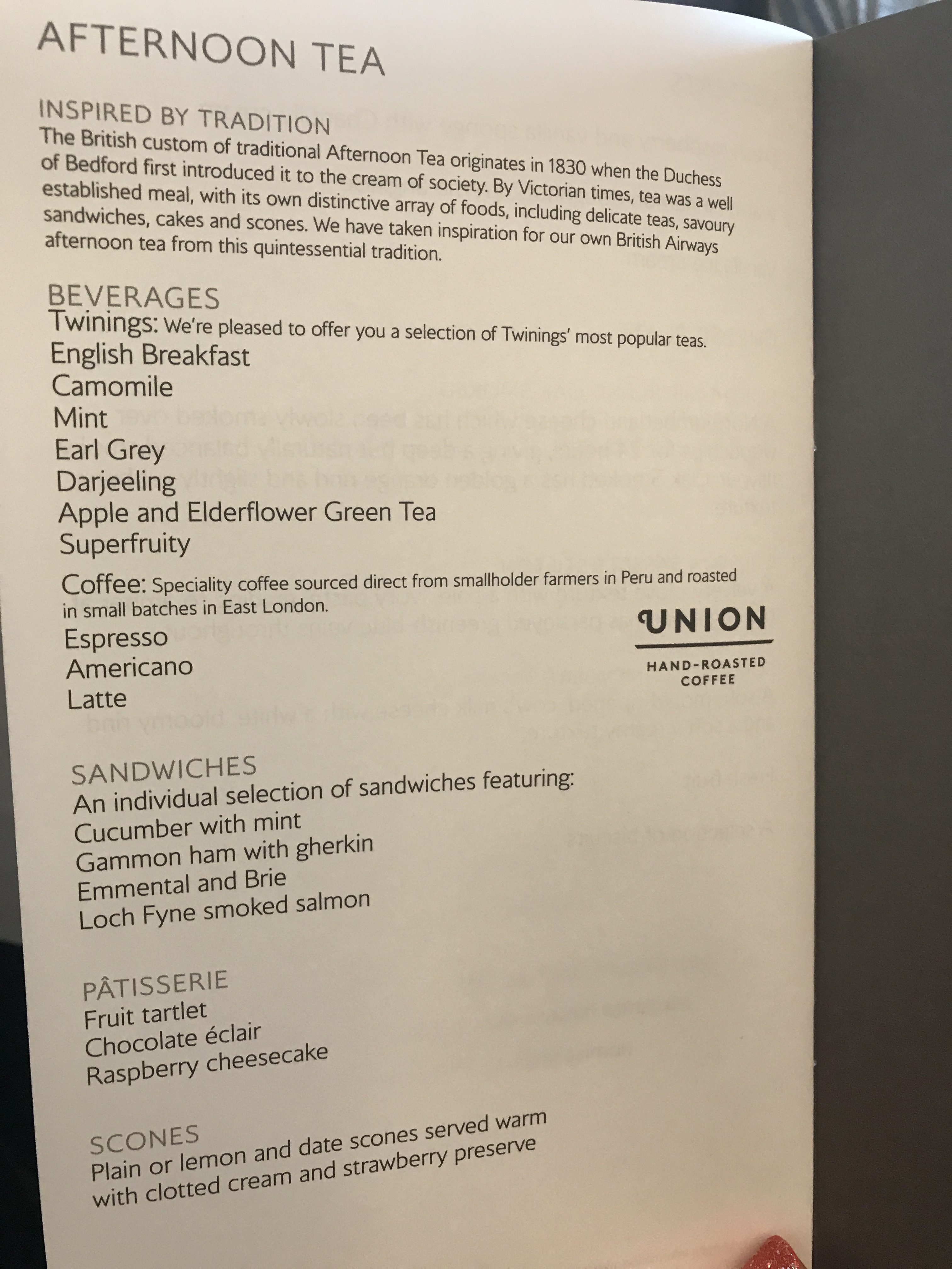 British Airways B747 First class review to New York menu