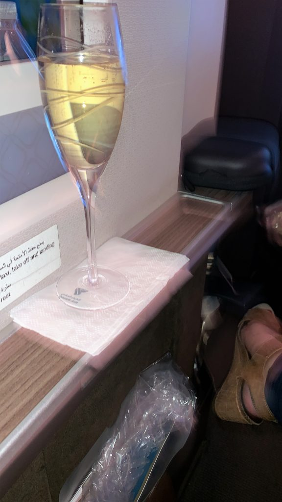 Oman air business class review champagne