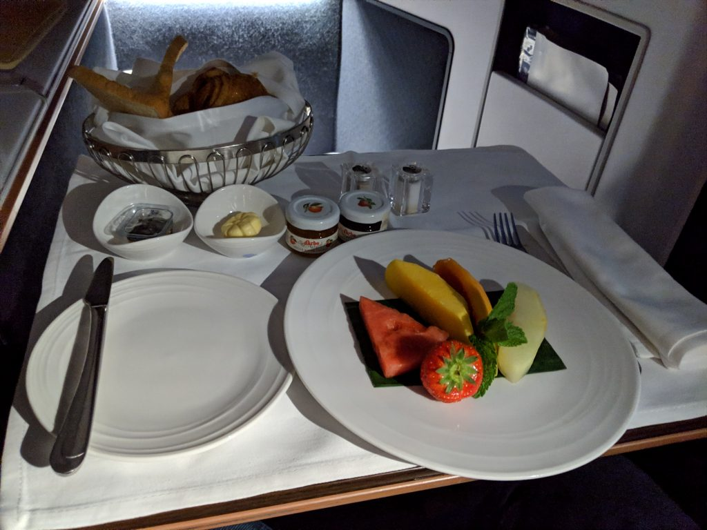 Malaysia Airlines A350 London – Kuala Lumpur First Class review fruit plate