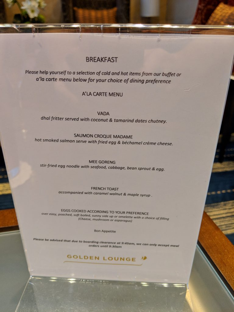 Malaysia Airlines A350 London – Kuala Lumpur First Class review lounge menu