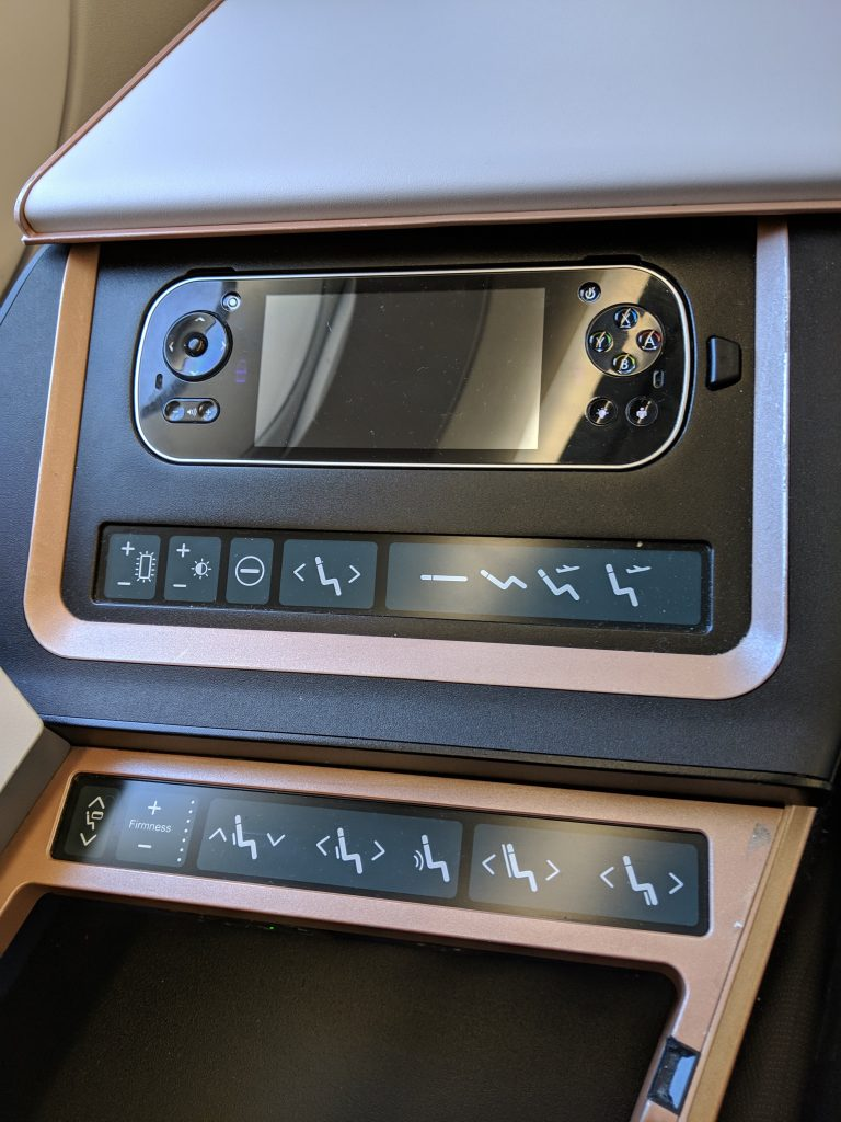 Malaysia Airlines A350 London – Kuala Lumpur First Class review seat controls