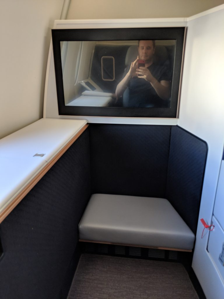 Malaysia Airlines A350 London – Kuala Lumpur First Class review first suite foot stool