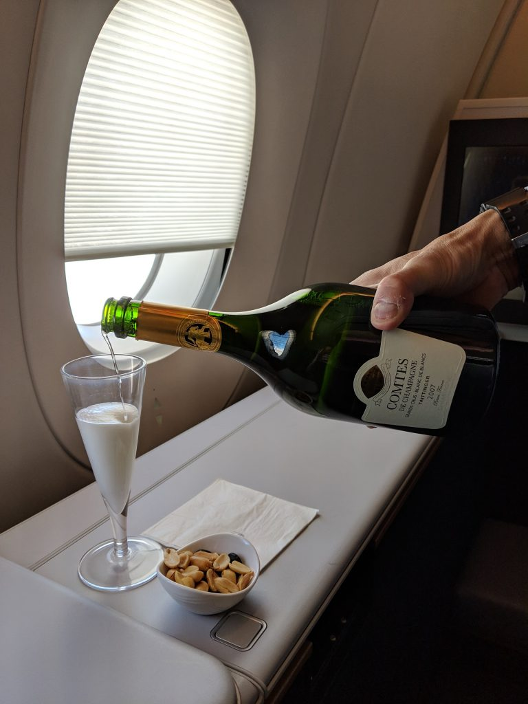 Malaysia Airlines A350 London – Kuala Lumpur First Class review champagne