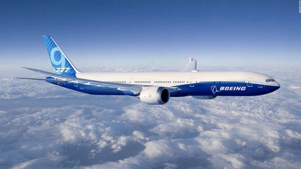 A Boeing 777X in flight