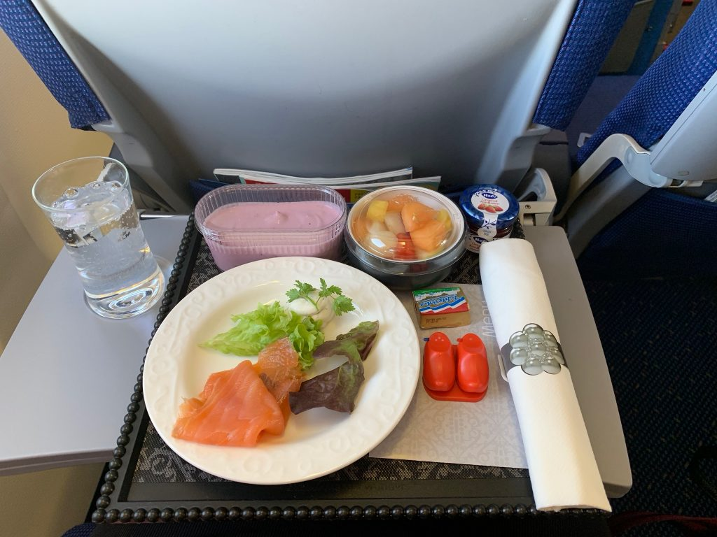 Delicious smoked salmon on KLM Birmingham to Amsterdam Business class