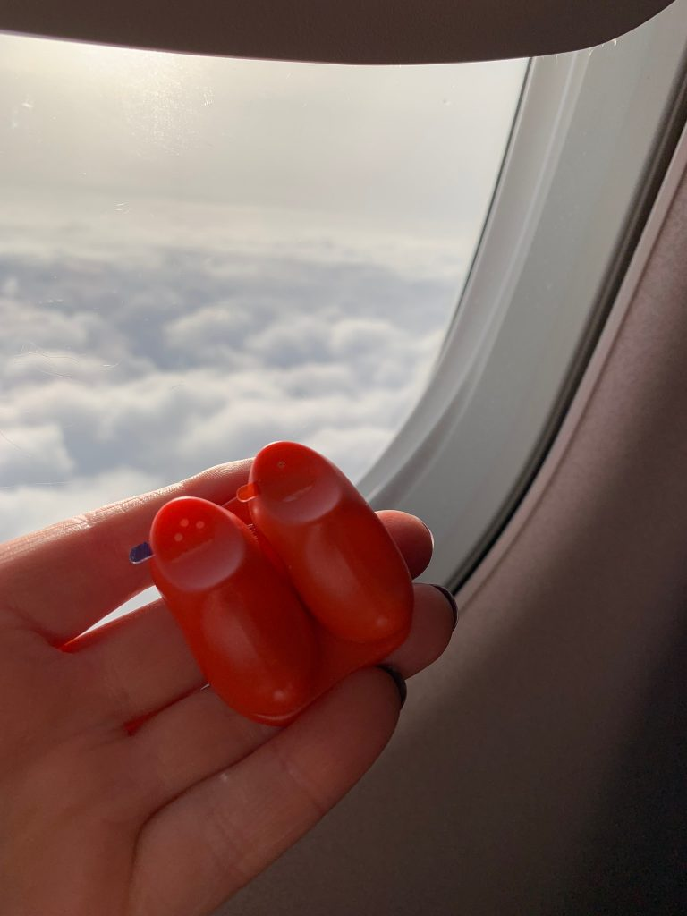Funky clog salt and pepper pots on KLM